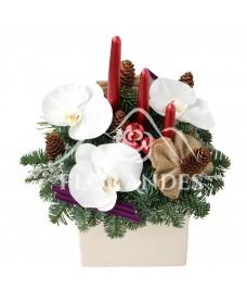 Aranjament floral cu orhidee si lumanari