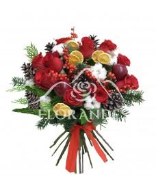 Buchet trandafiri rosii si conuri