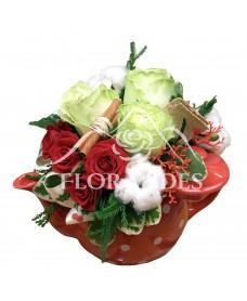 Ceainic trandafiri verzi si bumbac