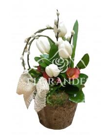 Aranjament floral frezii si lalele albe