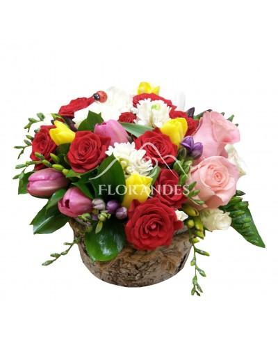 Aranjament floral lalele si minitrandafiri