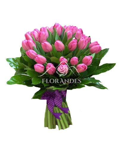 Buchet 33 lalele roz