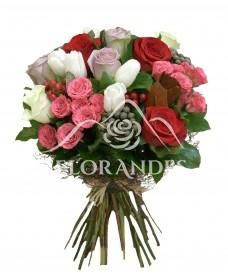 Buchet lalele albe si trandafiri