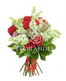 Buchet trandafiri si liliac alb