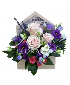 Aranjament floral trandafiri roz si lisianthus