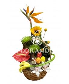 Aranjament floral cale si strelitzia