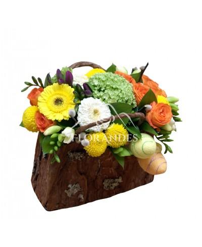 Aranjament floral minitrandafiri si minigerbera