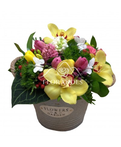 Aranjament floral orhidee galbena si lalele