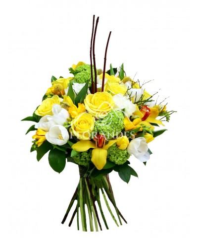 Buchet lalele si orhidee