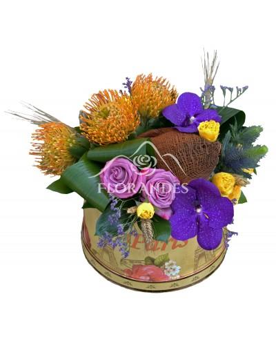 Aranjament floral cu orhidee vanda mov