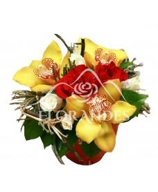 Aranjament floral orhidee galbena