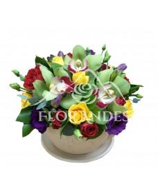 Aranjament floral orhidee si lisianthus