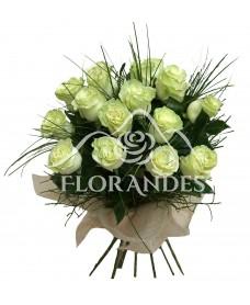Buchet de 15 trandafiri albi Mondial
