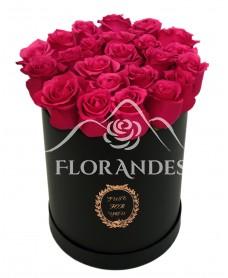 Cutie cu 23 trandafiri ciclam