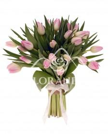 Buchet de 25 lalele roz pal