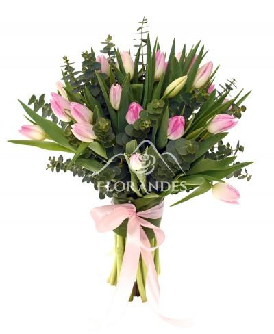 Buchet de 25 lalele roz