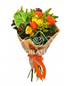 Buchet de trandafiri portocalii si anthurium
