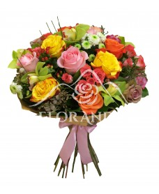 Buchet de trandafiri si orhidee verde