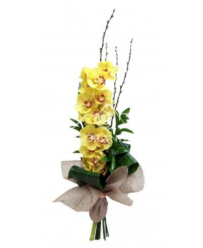 Buchet orhidee cymbidium galbena