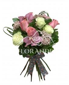 Buchet trandafiri albi si orhidee