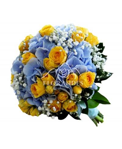 Buchet de mireasa cu hortensie bleu