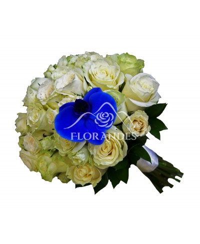 Buchet de mireasa cu orhidee albastra