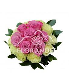 Buchet de mireasa cu trandafiri albi Mondial