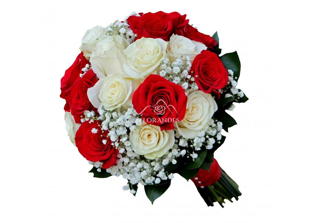 Buchet De Mireasa Cu Trandafiri Albi Si Gypsophila Importator