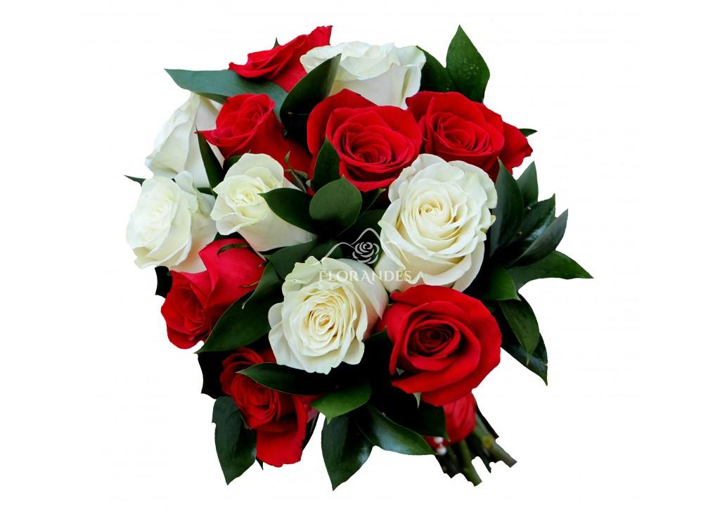 Buchet De Mireasa Cu Trandafiri Albi Si Rosii Cele Mai Bune Preturi