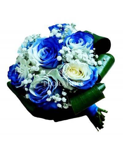 Buchet de mireasa cu trandafiri bicolori