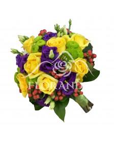 Buchet de mitreasa cu trandafiri galbeni