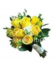 Buchet de mireasa cu trandafiri galbeni Stardust