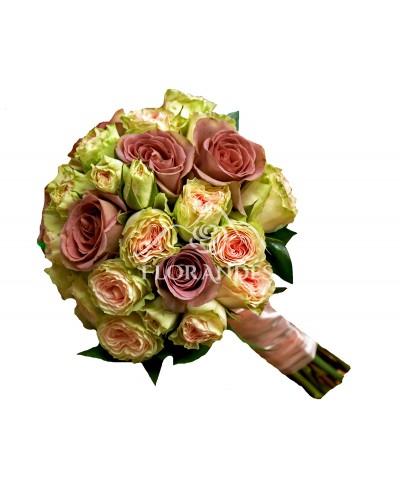 Buchet de mireasa cu trandafiri mov Amnesia