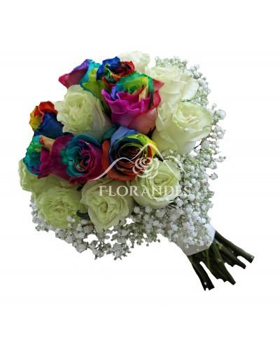 Buchet de mireasa cu trandafiri rainbow