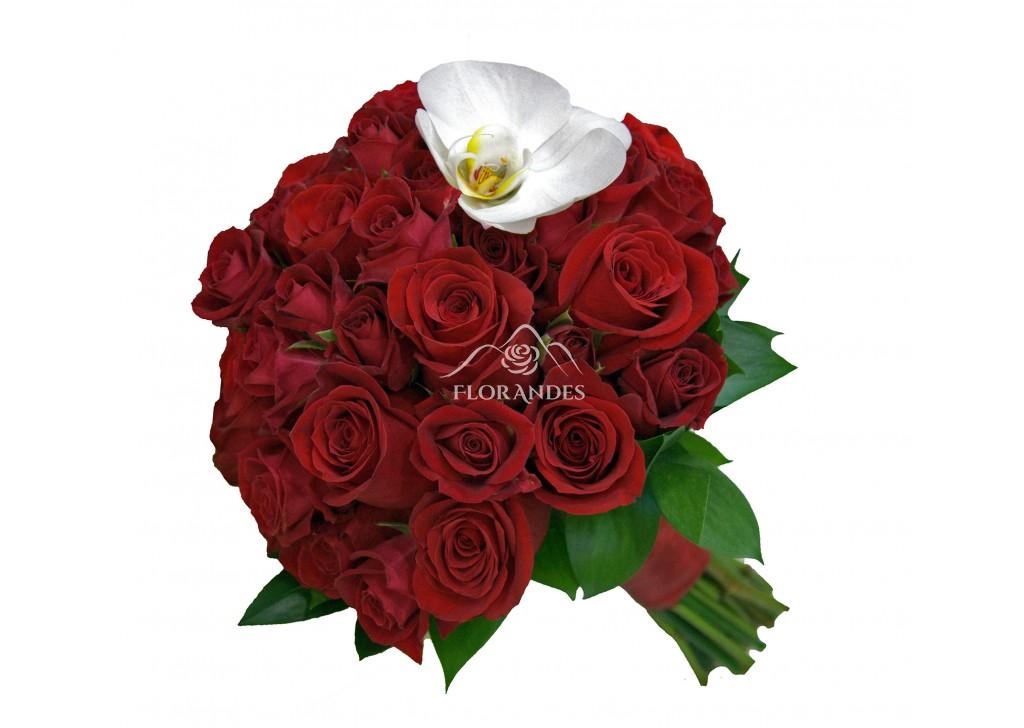 Buchet De Mireasa Cu Trandafiri Rosii Calitate Garantata Florandesro