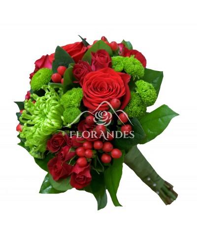 Buchet de mireasa cu trandafiri rosii si santini