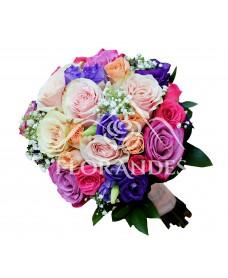 Buchet de mireasa cu trandafiri roz si mov