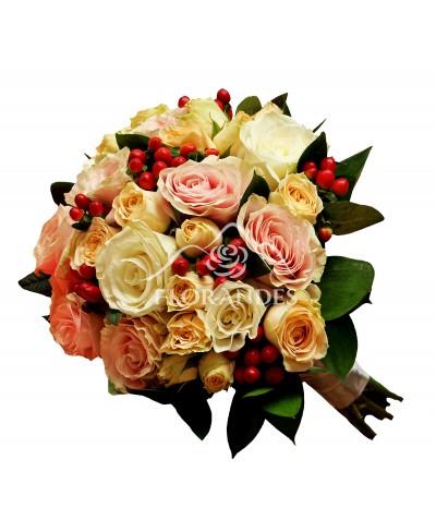 Buchet de mireasa cu trandafiri si minitrandafiri