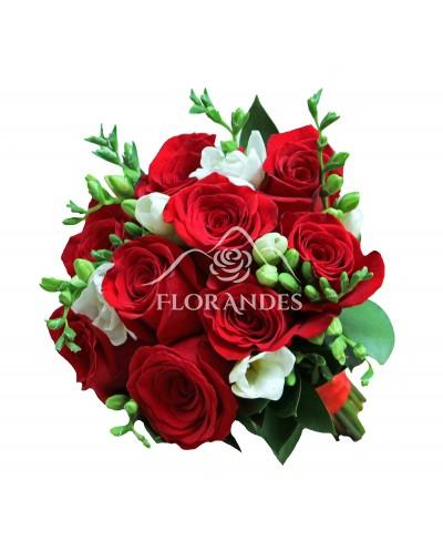 Buchet de mireasa trandafiri Freedom si frezii