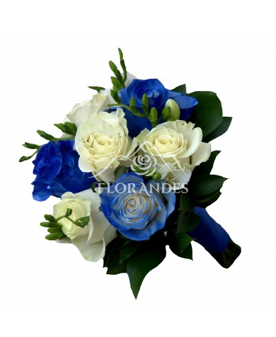 Buchet de mireasa trandafiri albastri si albi