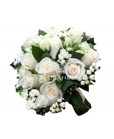Buchet mireasa bouvardia si trandafiri