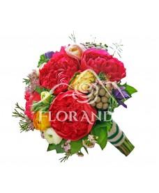 Buchet mireasa bujori si anemone