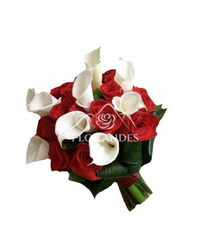 Buchet mireasa cale si trandafiri