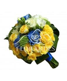 Buchet mireasa cu trandafiri albastri