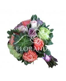 Buchet mireasa cu trandafiri verzi