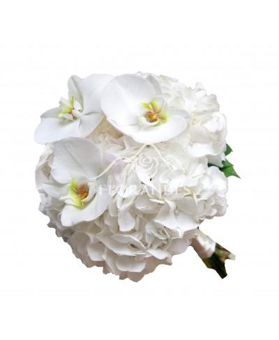 Buchet mireasa orhidee alba si hortensie