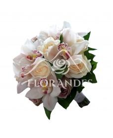 Buchet mireasa orhidee alba si trandafiri crem