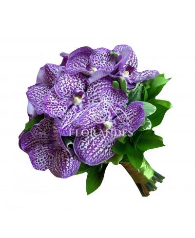 Buchet mireasa orhidee vanda mov