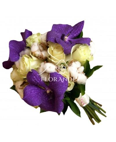 Buchet mireasa orhidee vanda si bumbac