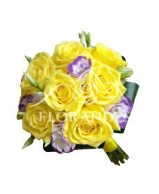 Buchet mireasa trandafiri galbeni
